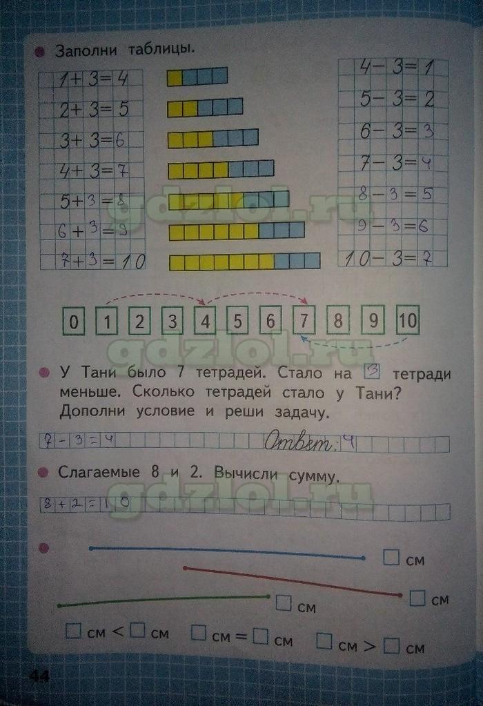 Математика 1 класс часть 1 моро волкова ответы