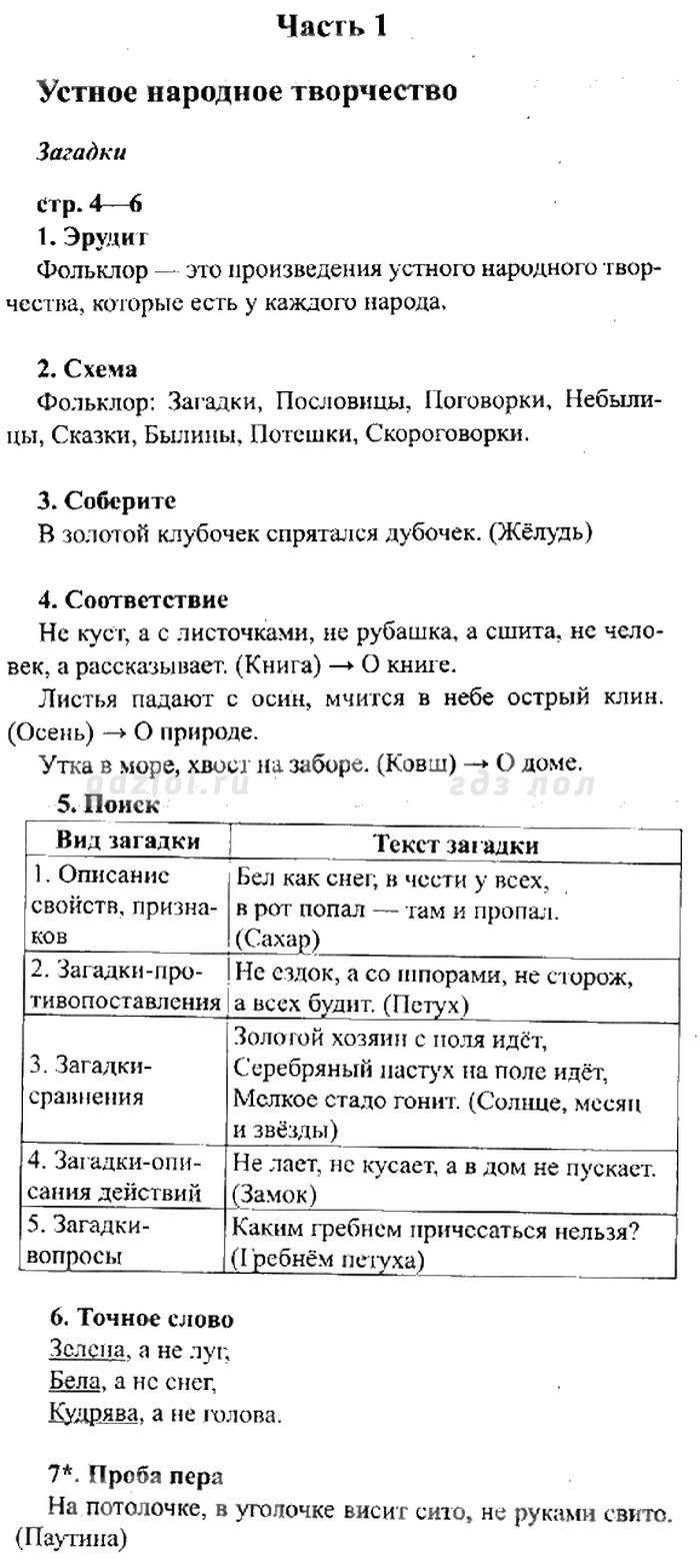 Готовые Домашние Задания, Решебник по Чтению 3 класс. Ефросинина Л.А. 2013 г.