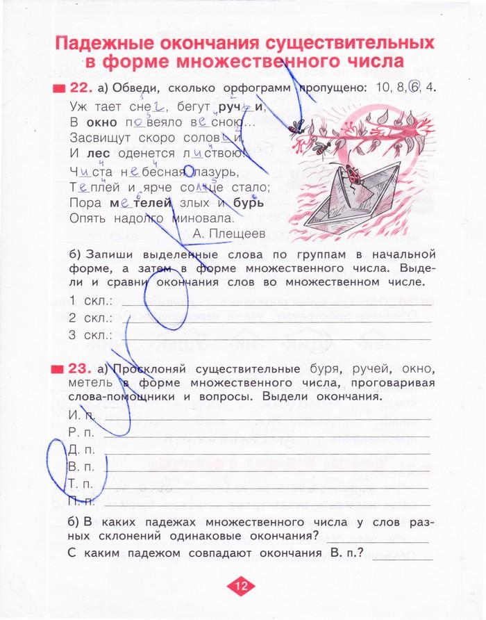 Тетрадь рабочая класс гдз по русскому языку 1 нечаева