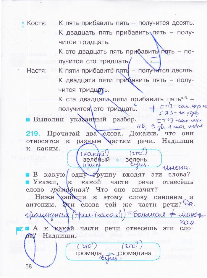 Домашнее задание по русскому языку 2 класс м.с соловейчик 2 часть упражнение
