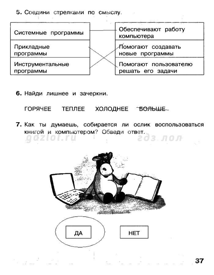 Информатика 4 класс матвеева рабочая тетрадь ответы читать