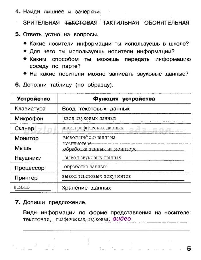 Спиши ру информатика 5 класс босова рабочая тетрадь списать