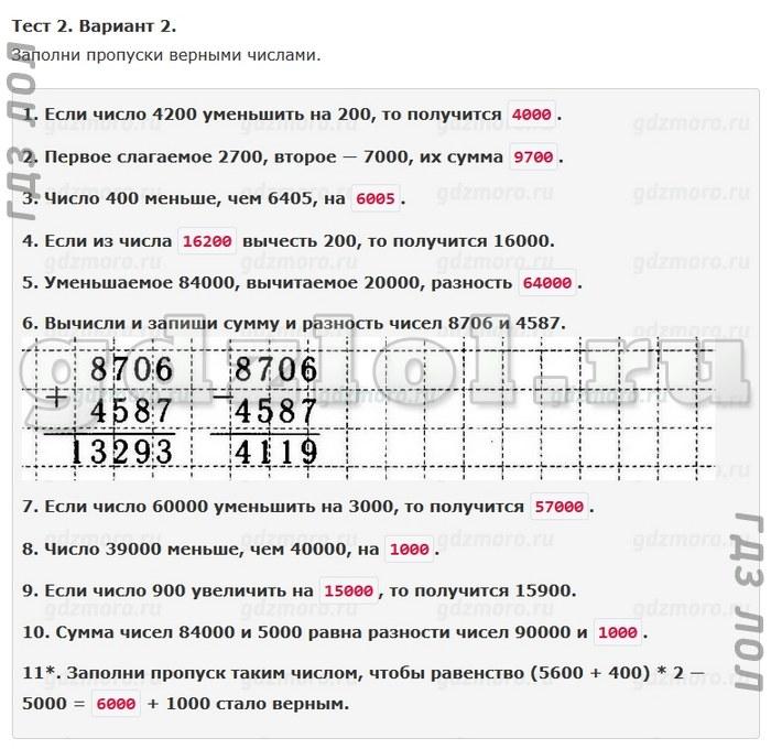 Класс ордынкина решебник по математике волкова и тестов 4