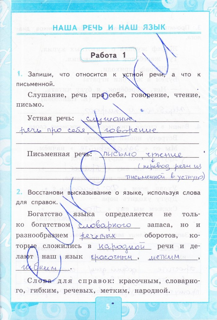 Контрольные работы по русскому 4 класс программа 21 век