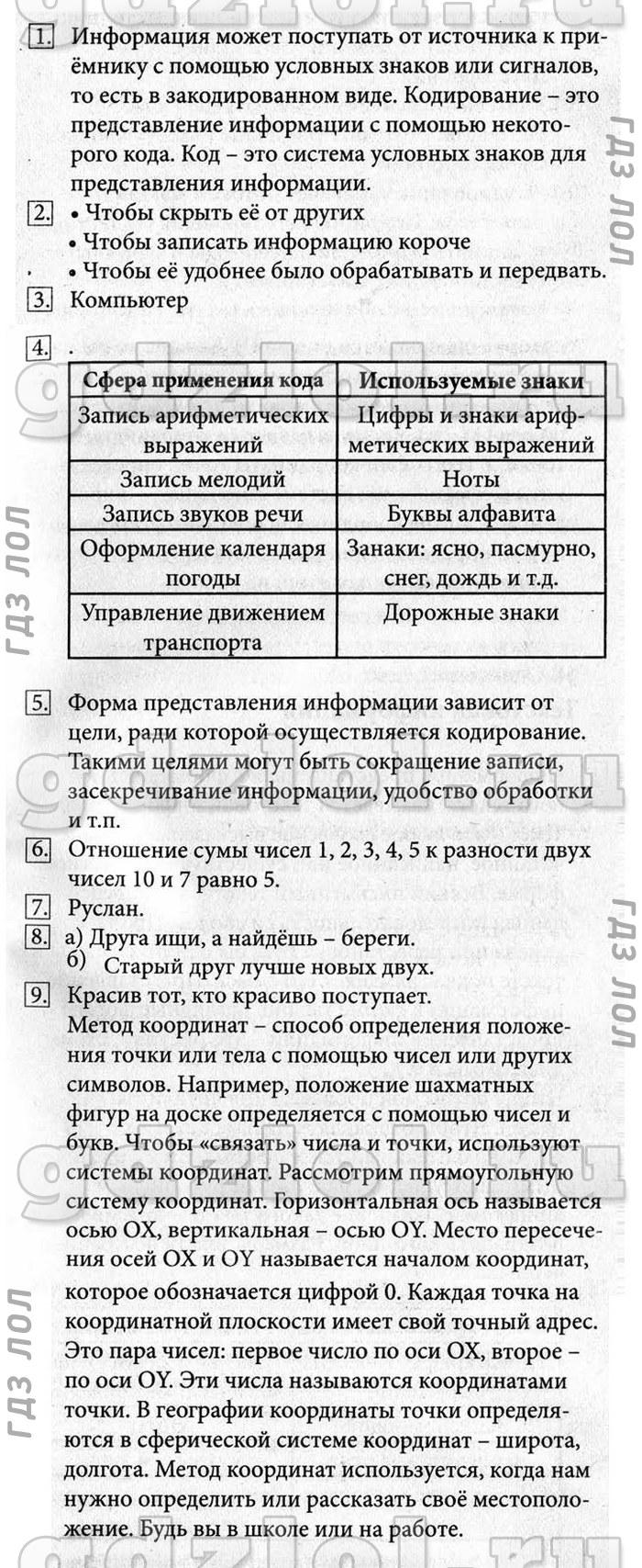 Учебник информатики 5 класс босова таблицы