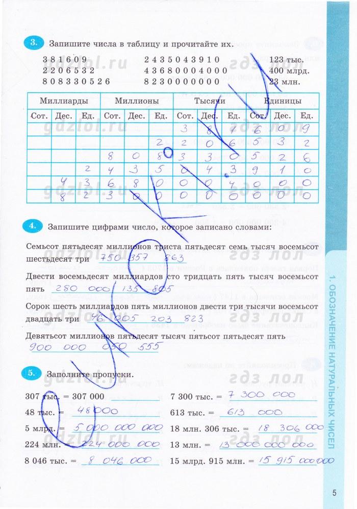 Математика 5 класс рабочая тетрадь ответы виленкина